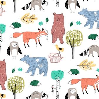 Hand drawn animal pattern vector