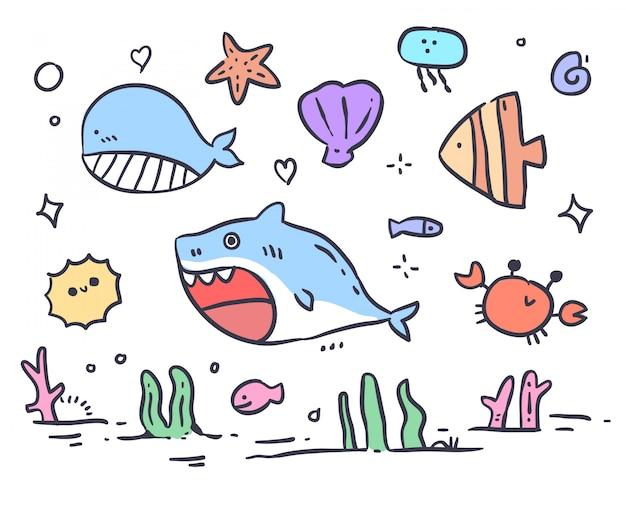Hand drawn animal sea doodle
