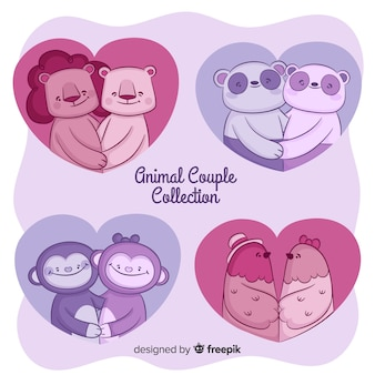 Hand drawn animal valentine couple collection