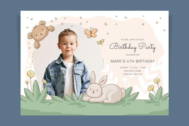 写真付き手描き動物の誕生日の招待状のテンプレート