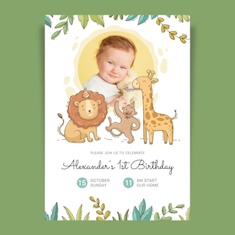 Hand drawn animals birthday invitation template with photo