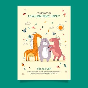 Modello di invito compleanno animali disegnati a mano