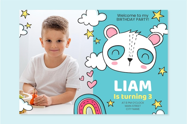 Ручной обращается приглашение на день рождения животных с фотошаблоном