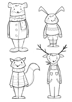 Hand drawn  animals in clothes, isolated