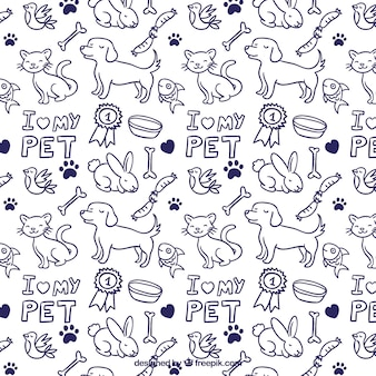 Hand drawn animals pattern