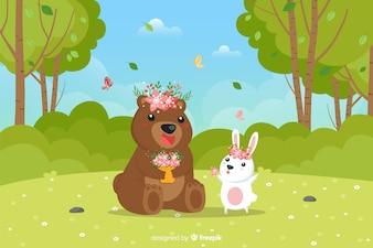 Hand drawn animals spring background