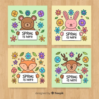Hand drawn animals spring card collection