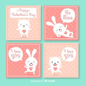 Hand drawn animals valentine card set