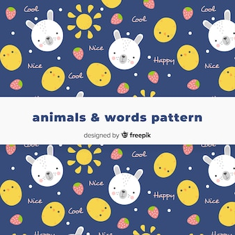 Hand drawn animals and words pattern