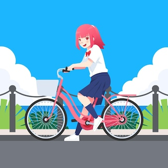 自転車に乗って手描きアニメの女の子
