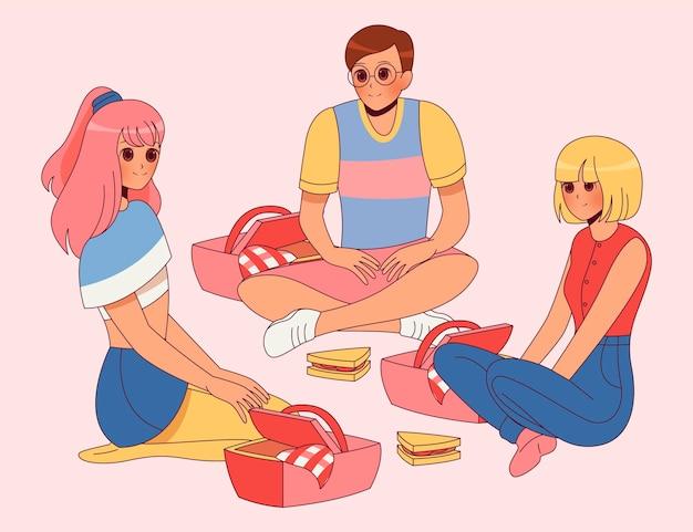 ピクニックをしている手描きアニメの人々