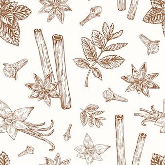 手描きのアニス、ミント、シナモン、クローブ、バニラのベクトルのシームレスな背景パターン