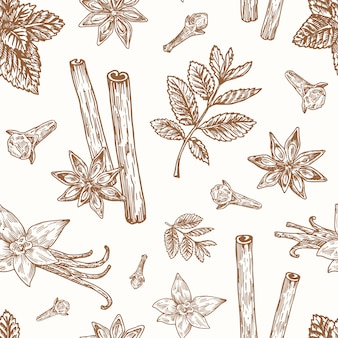 Hand drawn anise, mint, cinnamon, clove and vanilla vector seamless background pattern