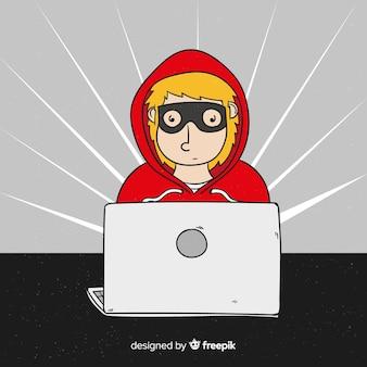手描きの匿名ハッカー概念