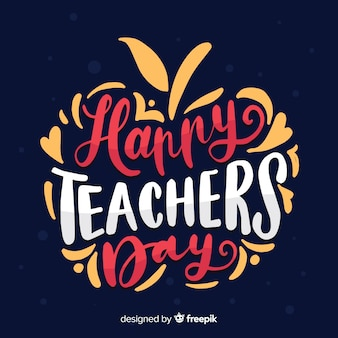 Hand drawn apple shaped world teachers'day lettering