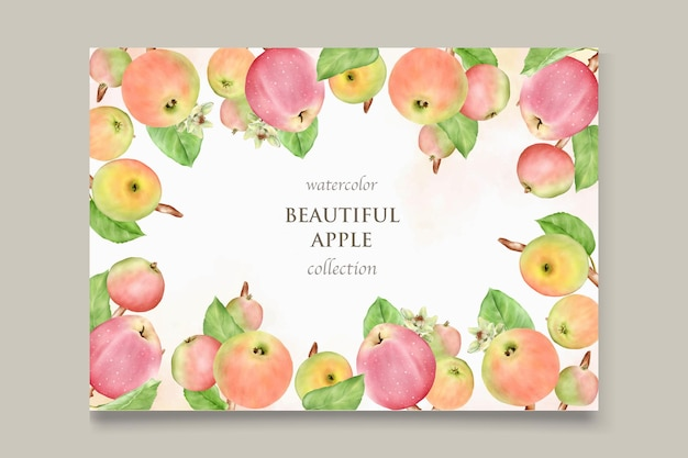 Hand drawn apple wedding invitation template