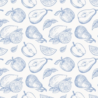 Рука нарисованные яблоки, груши и лимоны собирают бесшовные