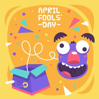 Hand-drawn april fools' day illustration