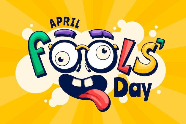 Hand drawn april fools' day illustration