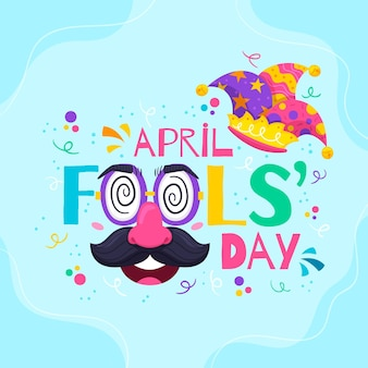 Hand drawn april fools' day illustration