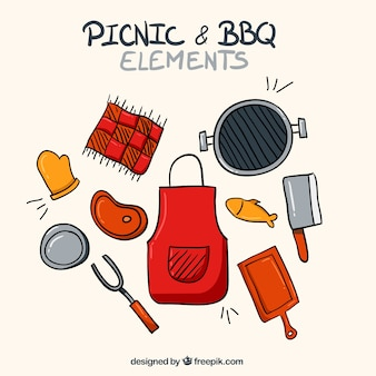 Hand drawn apron with bbq elements