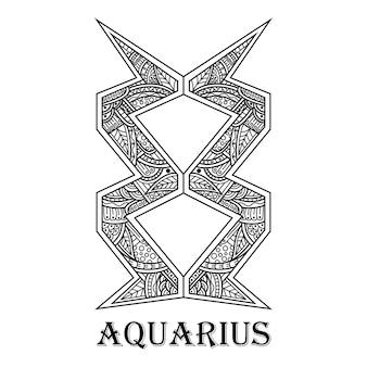 Hand drawn of aquarius in zentangle style