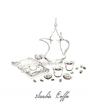 Hand drawn of arabic coffee with sandwich