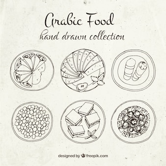 Hand drawn arabic food dishes