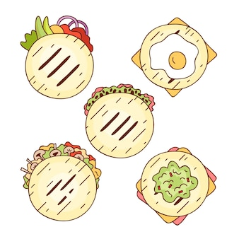 Hand drawn arepas collection