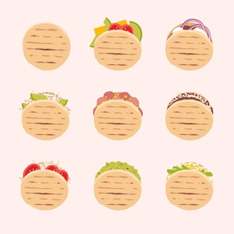 Hand drawn arepas top view