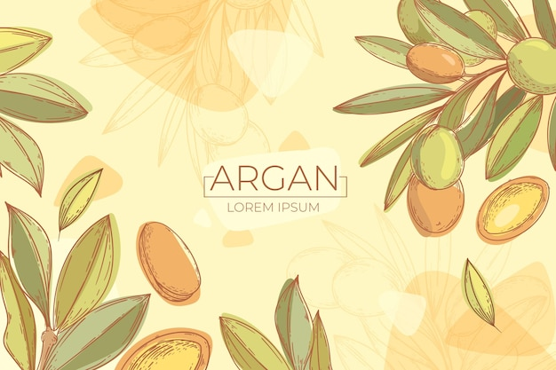 Hand drawn argan oil background