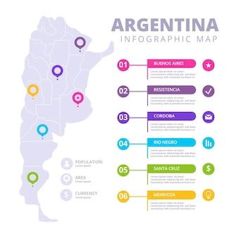 Mappa di argentina disegnata a mano infografica