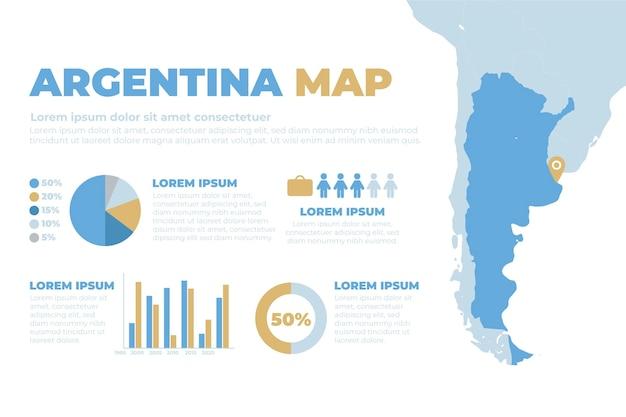 Нарисованная рукой инфографика карты аргентины