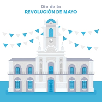 Нарисованная рукой иллюстрация аргентинского диа-де-ла-революцион-де-майо