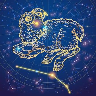 Нарисованный рукой овец знак зодиака овец на фоне звезды
