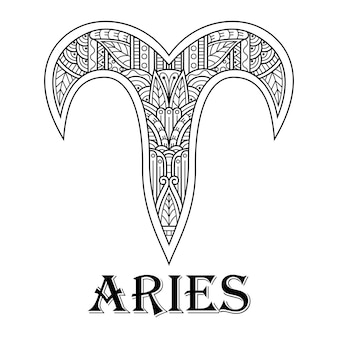 Hand drawn of aries in zentangle style