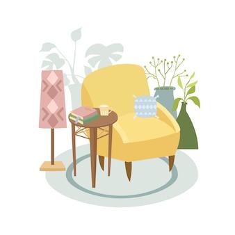 植物と手描きのアームチェア
