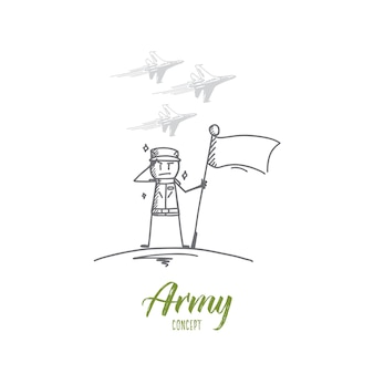 Hand drawn army concept sketch