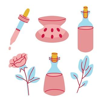 Collezione di elementi di aromaterapia disegnati a mano
