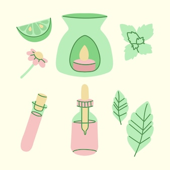 Hand drawn aromatherapy element collection