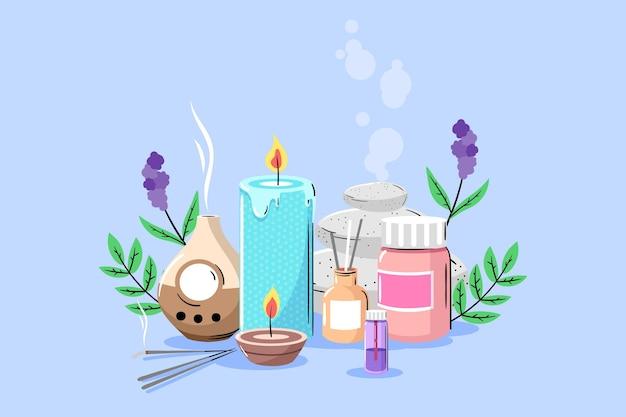 Hand drawn aromatherapy element pack