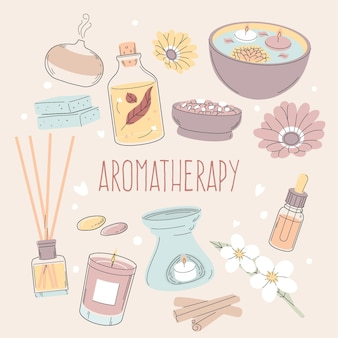 Insieme di elementi di aromaterapia disegnati a mano