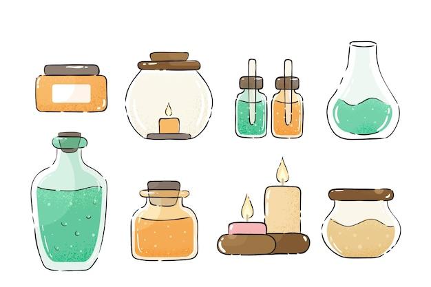 Accumulazione dell'illustrazione di aromaterapia disegnata a mano