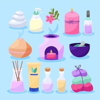 Insieme disegnato a mano dell'illustrazione di aromaterapia