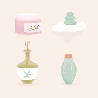 Hand drawn aromatherapy on pink background
