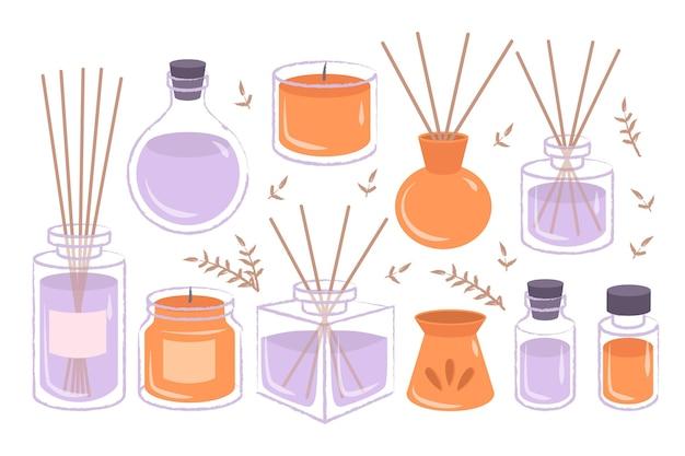 Bastoncini profumati per aromaterapia disegnati a mano