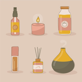 Hand drawn aromatherapy with candles