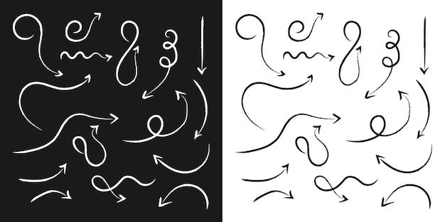 Ручной обращается стрелка кисти коллекции каракули стиль для указания на элемент направления направления премиум