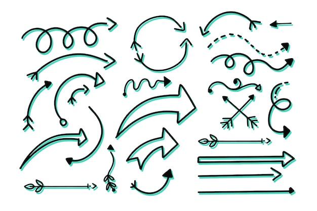Raccolta di frecce disegnate a mano