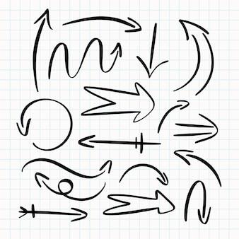 손으로 그린 화살표 컬렉션
